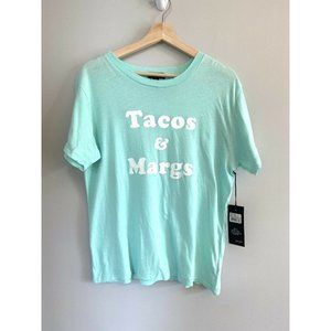 WILDFOX New Tee Mint Tacos and Margs Graphic Top S